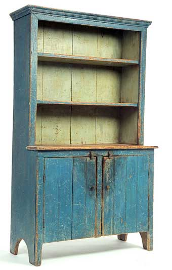Blue sideboard with two cupboards below and three shelves attached above. Made in Norfolk County
